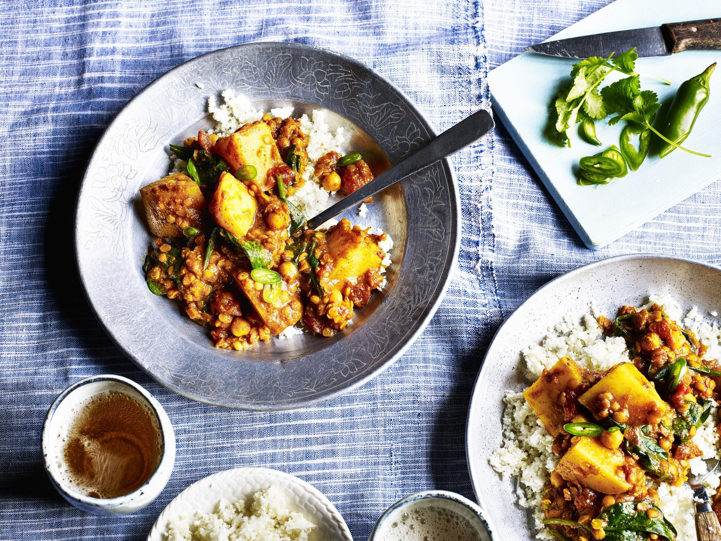 How to make a warming potato and lentil curry with crumbled cauliflower