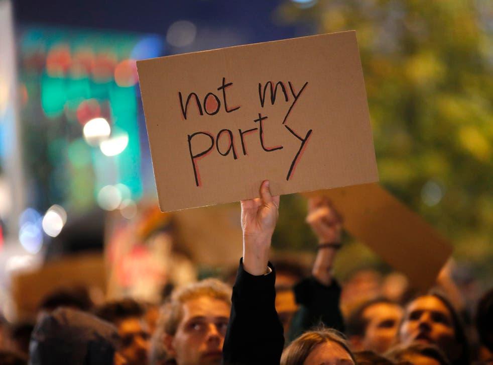Demonstrators protest the anti-immigration party Alternative für Deutschland in Berlin