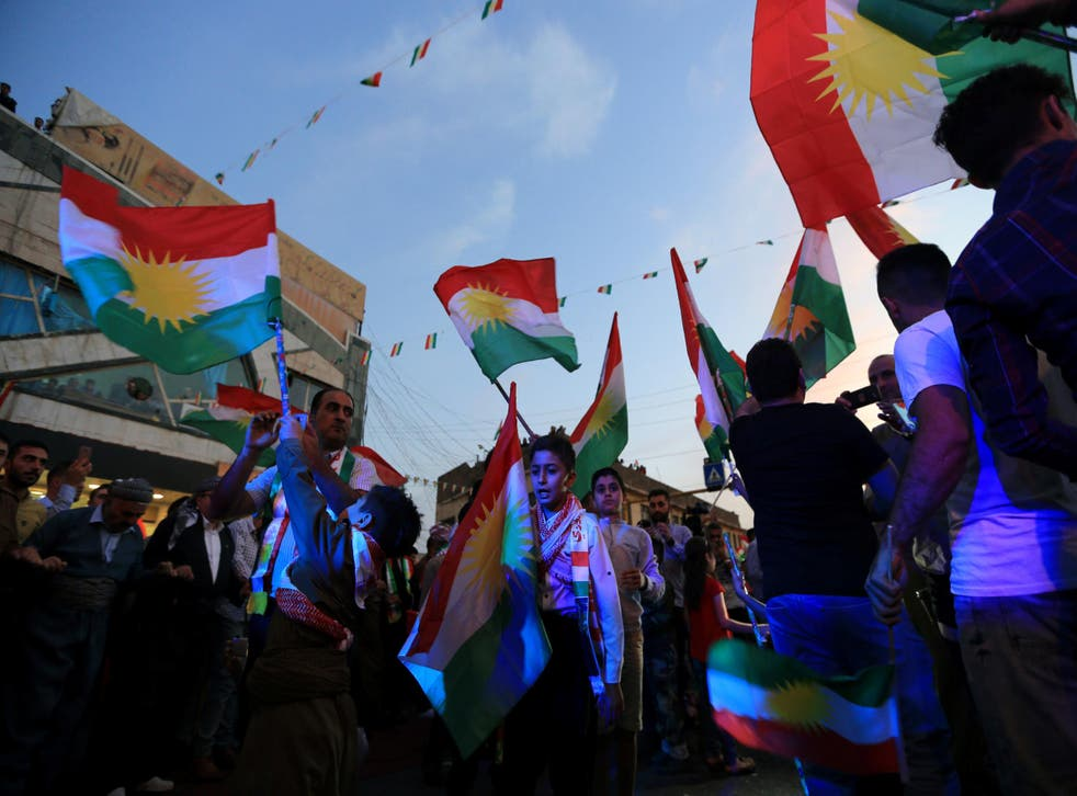 Kurds show their support for the independence referendum in Duhok, Iraq on 26 September 2017