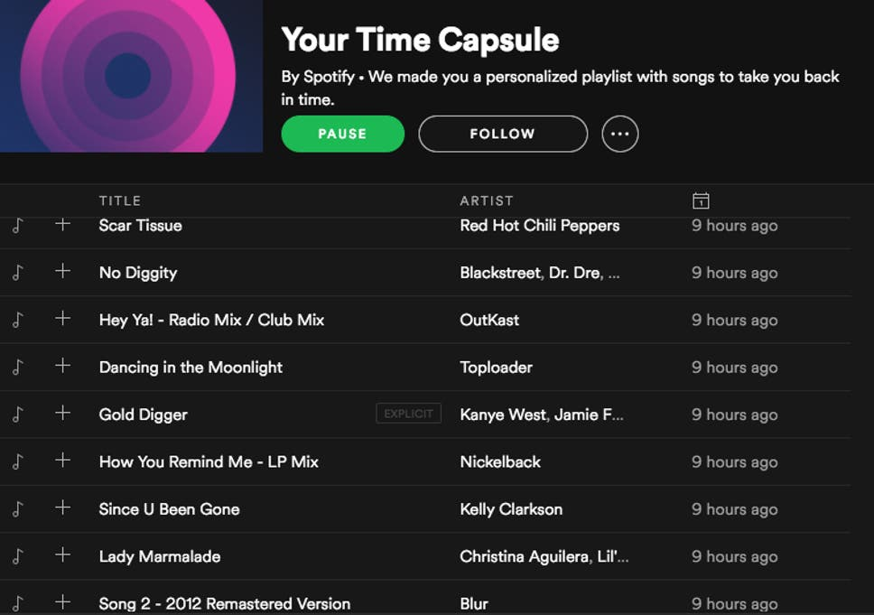 Spotify Introduces Time Capsule Feature That Works Out Your Music