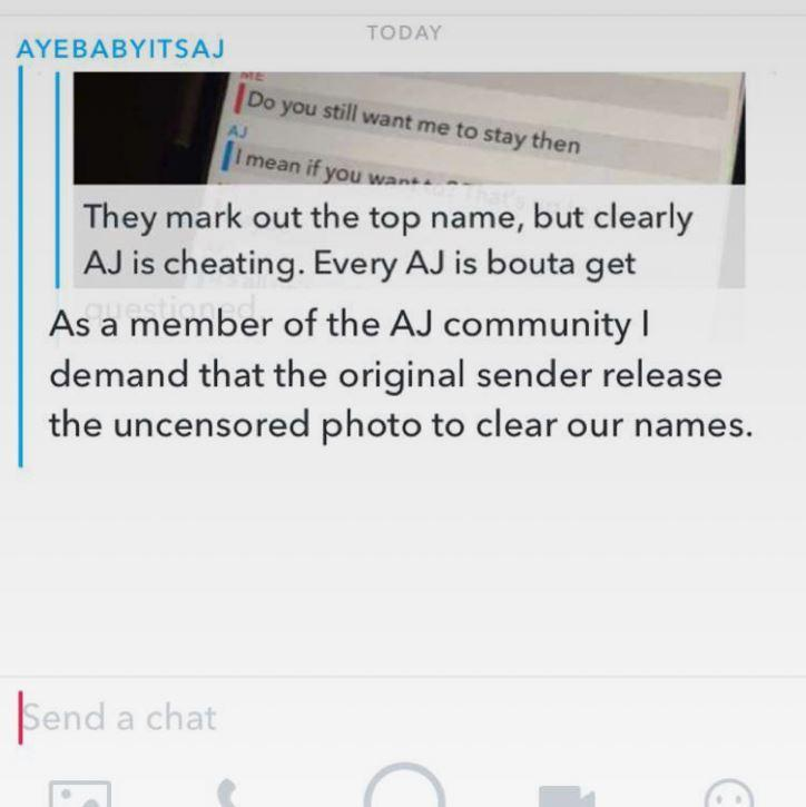 A guy got caught cheating on Snapchat and went instantly