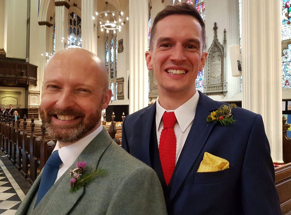 Alistair Dinnie and Peter Matthews are the first same-sex couple to tie the knot in an Anglican church in the UK