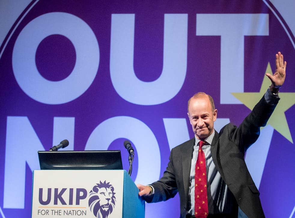 Newly elected UKIP leader Henry Bolton speaks at the party's conference in Torquay
