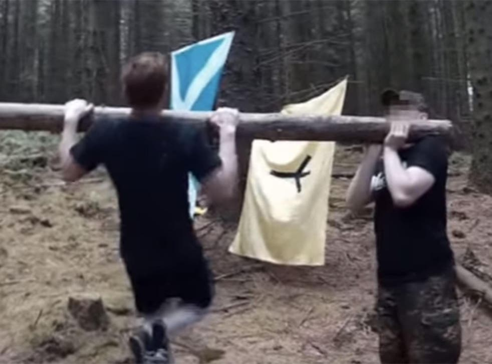 Members of Scottish Dawn undergoing combat training, shown in a video called Braveheart Fight Club uploaded in September 2017