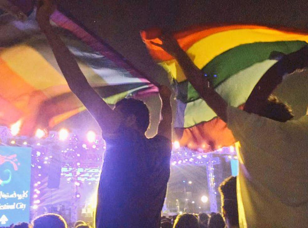 LGBT+ rights supporters wave the rainbow flag at a Mashrou' Leila concert in Cairo earlier this month