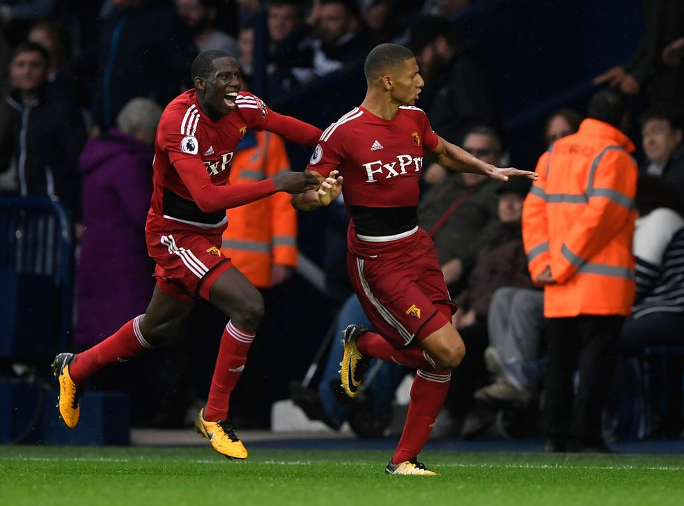 Richarlison celebrates scoring Watford's equaliser against West Bromwich Albion in their 2-2 draw
