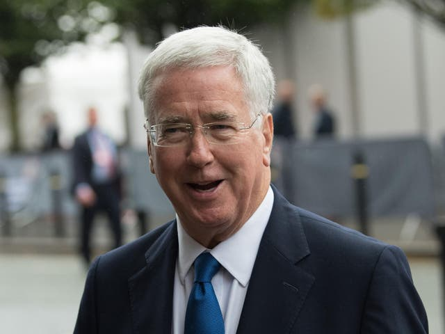 Defence Secretary Sir Michael Fallon arriving at the Conservative conference