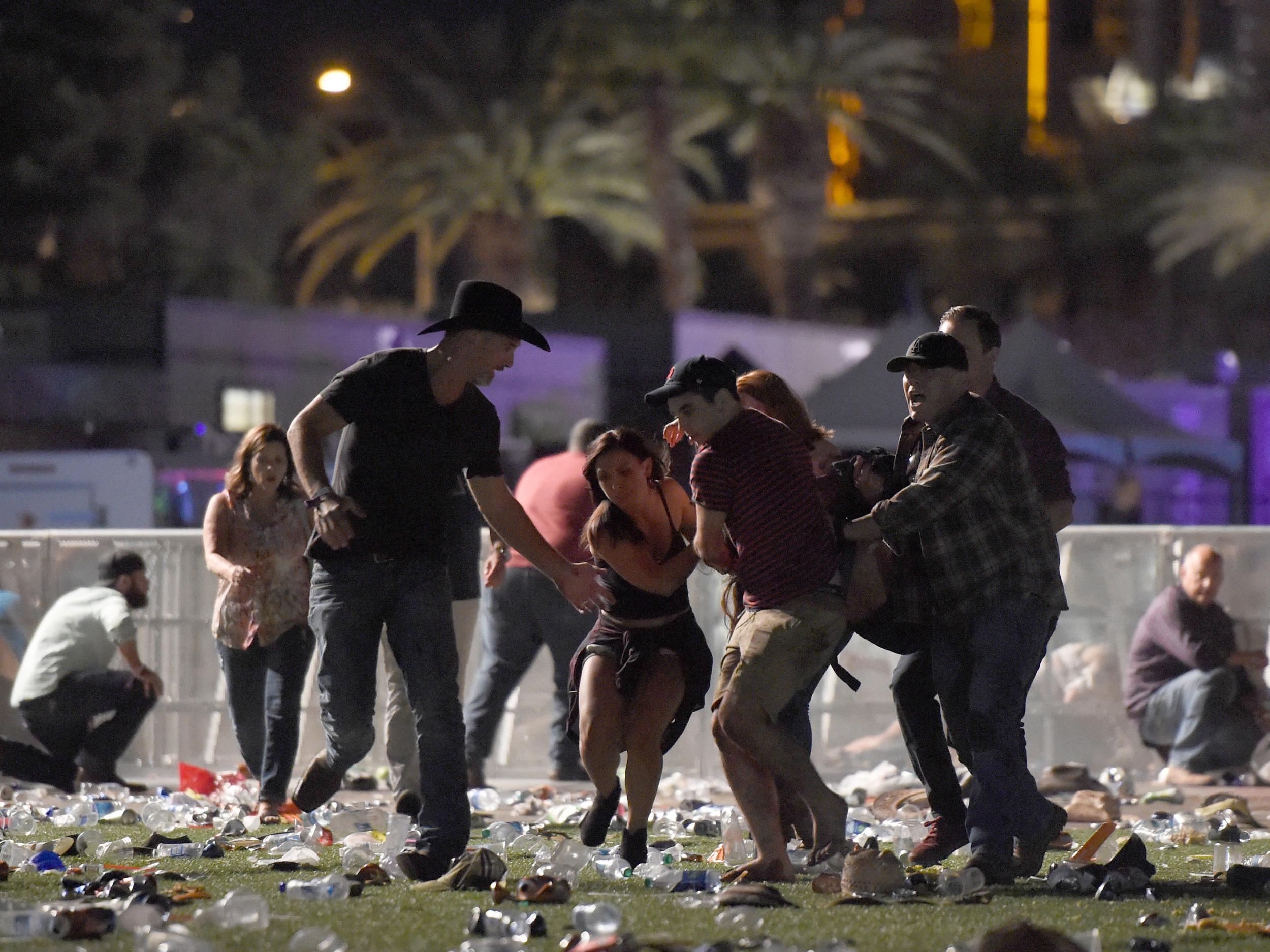 Las Vegas shooting: New CCTV video shows people running for
