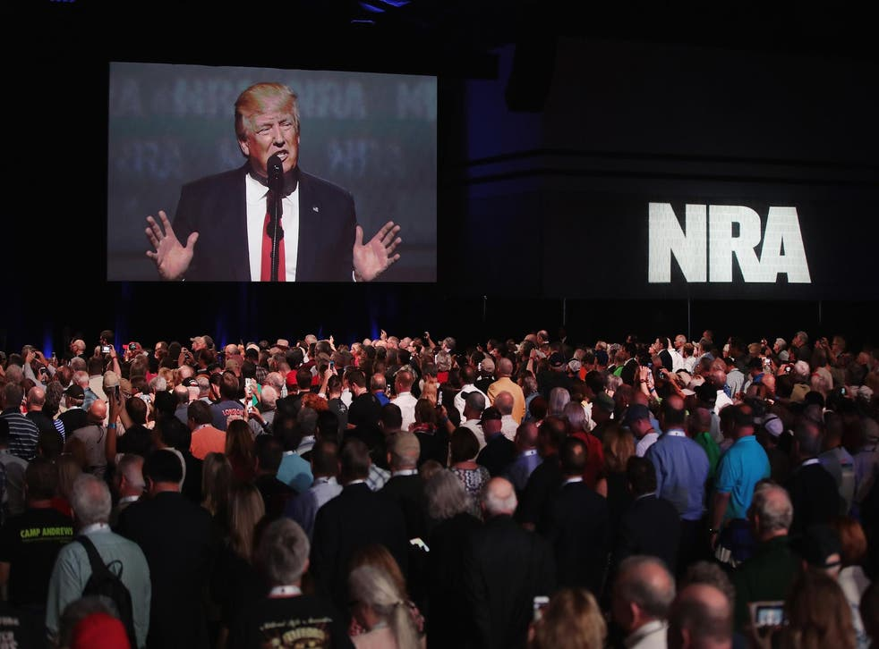 More than 24 hours after the worst mass shooting in US history, the NRA has not commented - although Donald Trump has