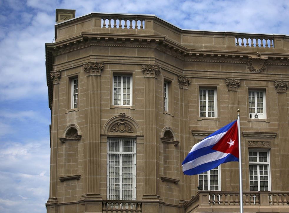 The Cuban flag flies outside the country's Washington embassy