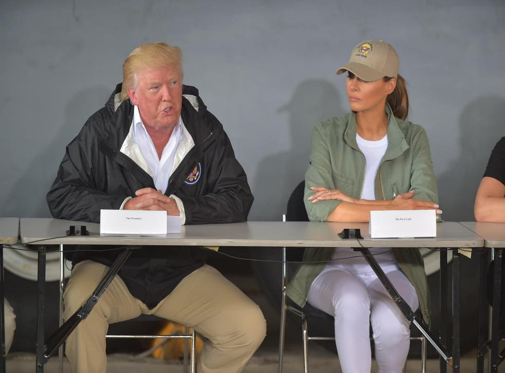 US President Donald Trump and First Lady Melania Trump attend a meeting with Puerto Rico Governor Ricardo Rossello