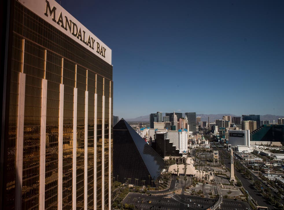 A view of the Mandalay Bay Resort and Casino, overlooking the Las Vegas Strip after a mass shooting at a music concert