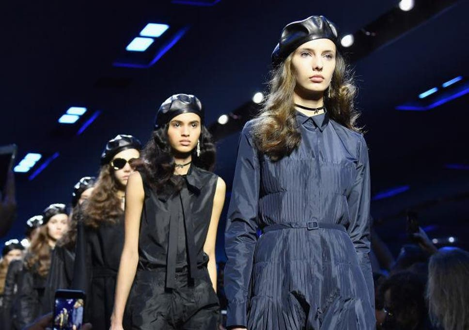 46dc8441cec3b Models sport berets during the Christian Dior show as part of Paris Fashion  Week
