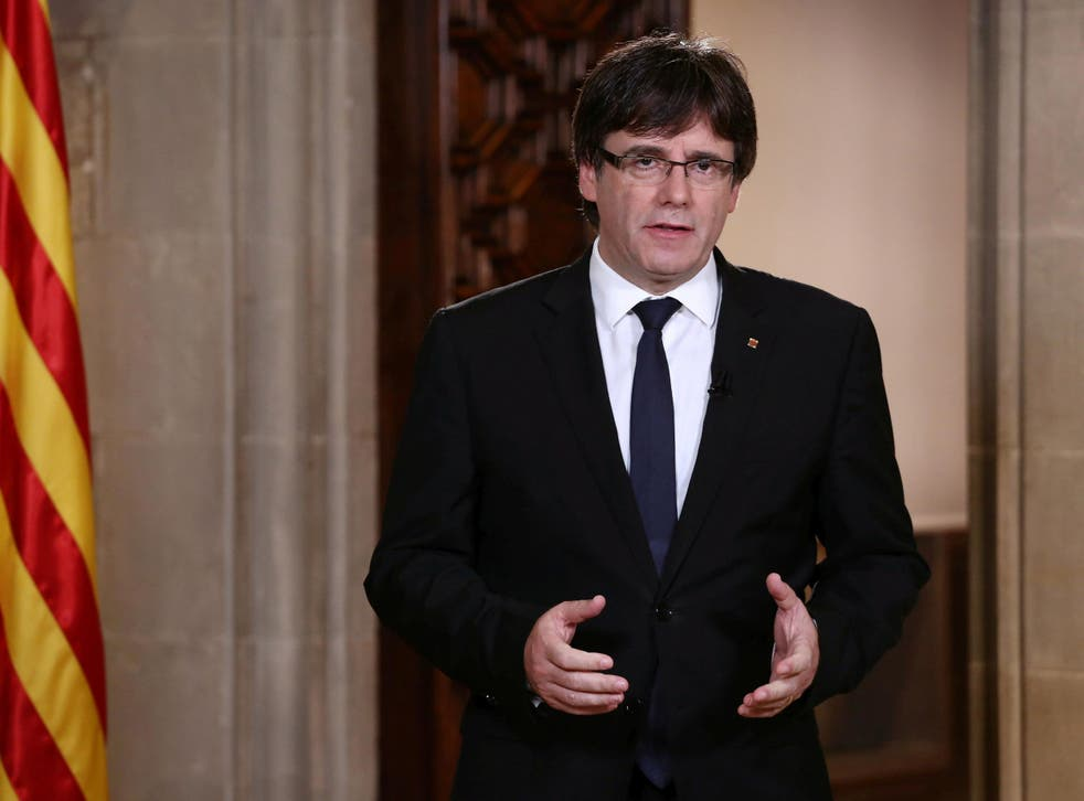 Catalan Regional President Carles Puigdemont makes an statement at Generalitat Palace in Barcelona
