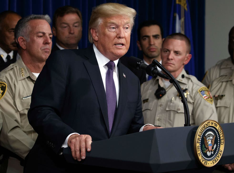 President Trump praised first responders and citizens who are donating blood