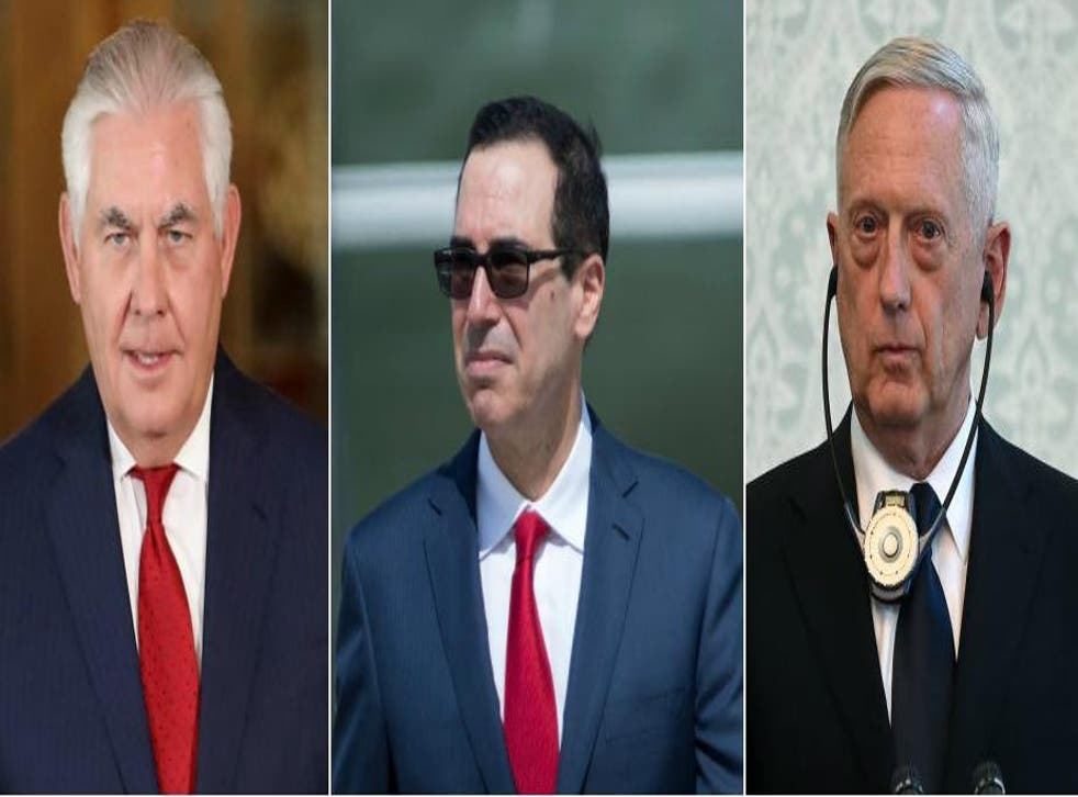 (L-R) Secretary of State Rex Tillerson, Treasury Secretary Steve Mnuchin and Defense Secretary Jim Mattis