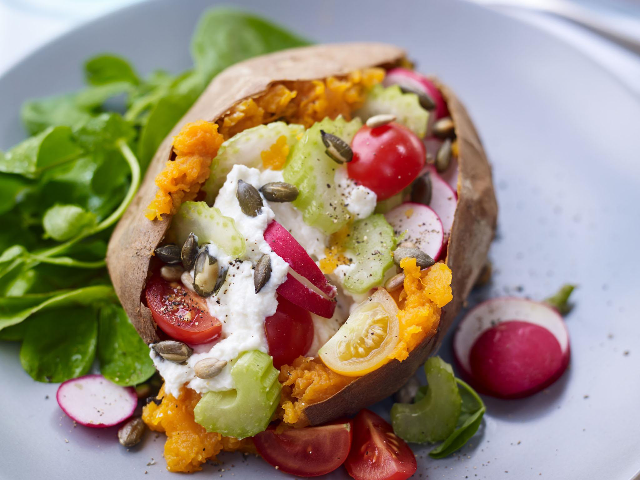 How to make a loaded sweet potato with celery, radish and cherry tomatoes