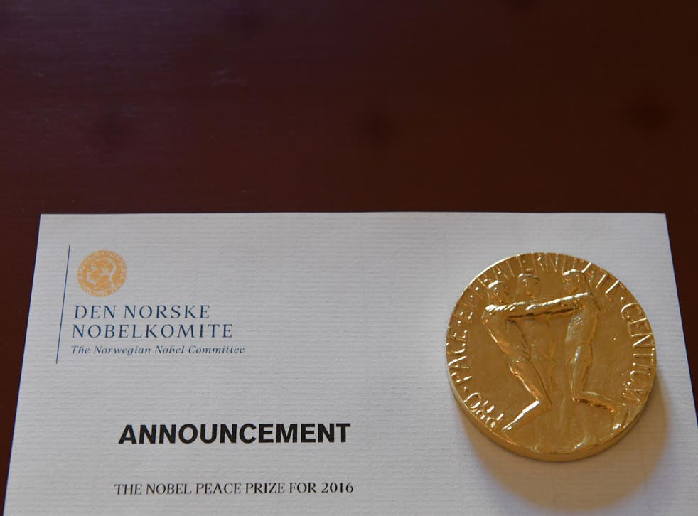 An information paper is seen at the Nobel Institute before a news conference of the 2016 Nobel Peace prize laureate in Oslo