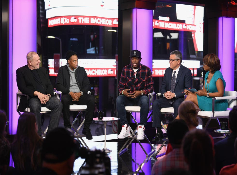 Harvey Weinstein, Jay Z, Michael Che, Jeffrey Toobin, and Gayle King speak onstage during TIME AND PUNISHMENT: A Town Hall Discussion, March 2017, New York