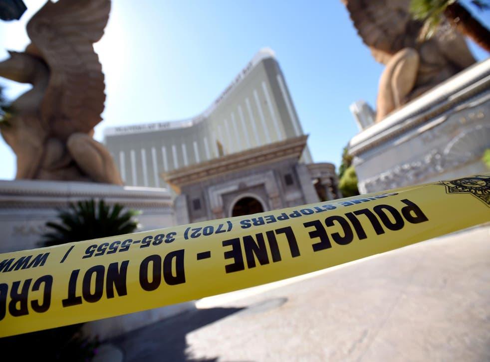 Police tape blocks an entrance at the Mandalay Bay Resort & Caisno