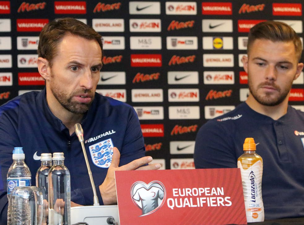 Gareth Southgate with Jack Butland who starts for England against Lithuania