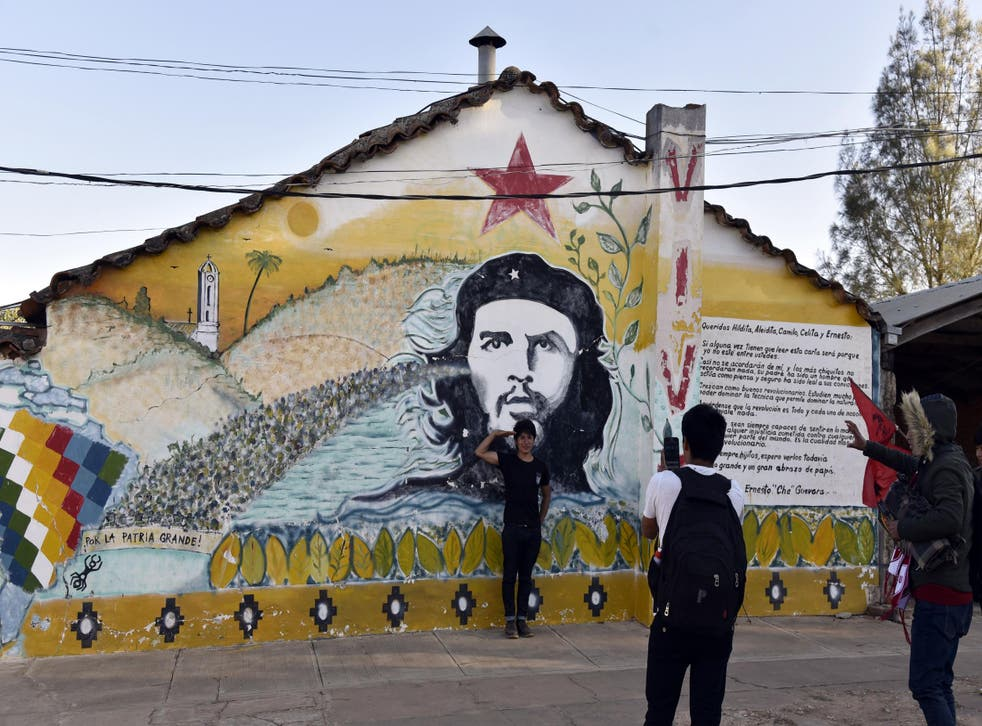 Murals of Che are on the walls around Vallegrande, just as they are in Cuba