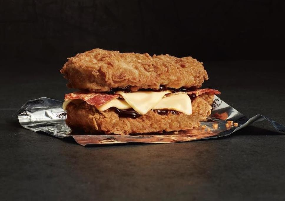 KFC's Double Down burger: Is bacon and cheese sandwiched between