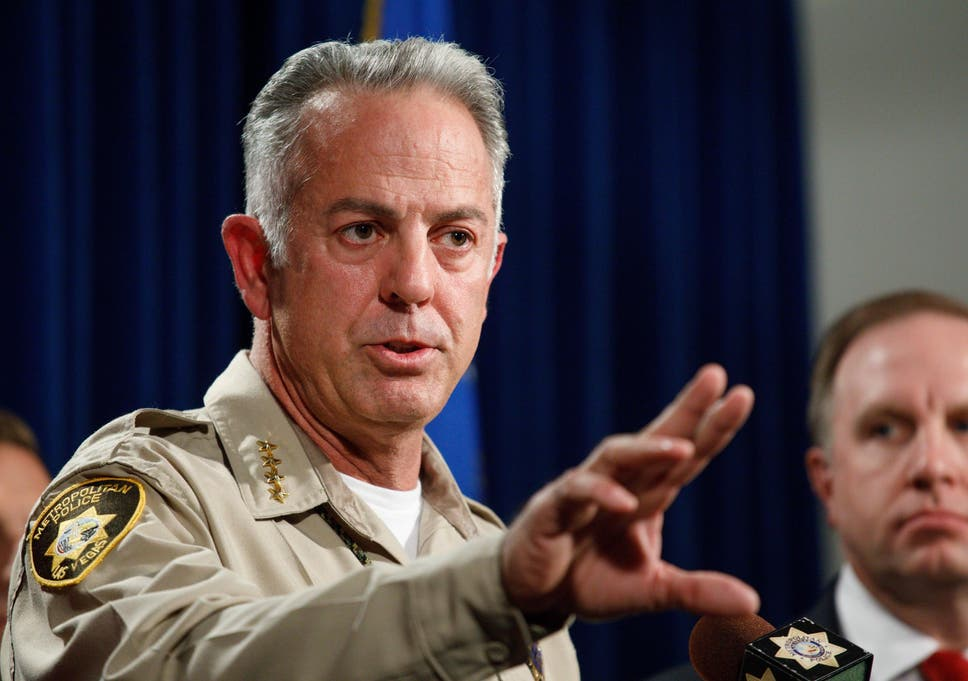 las vegas sheriff joseph lombardo speaks alongside fbi special agent aaron rouse during a press conference