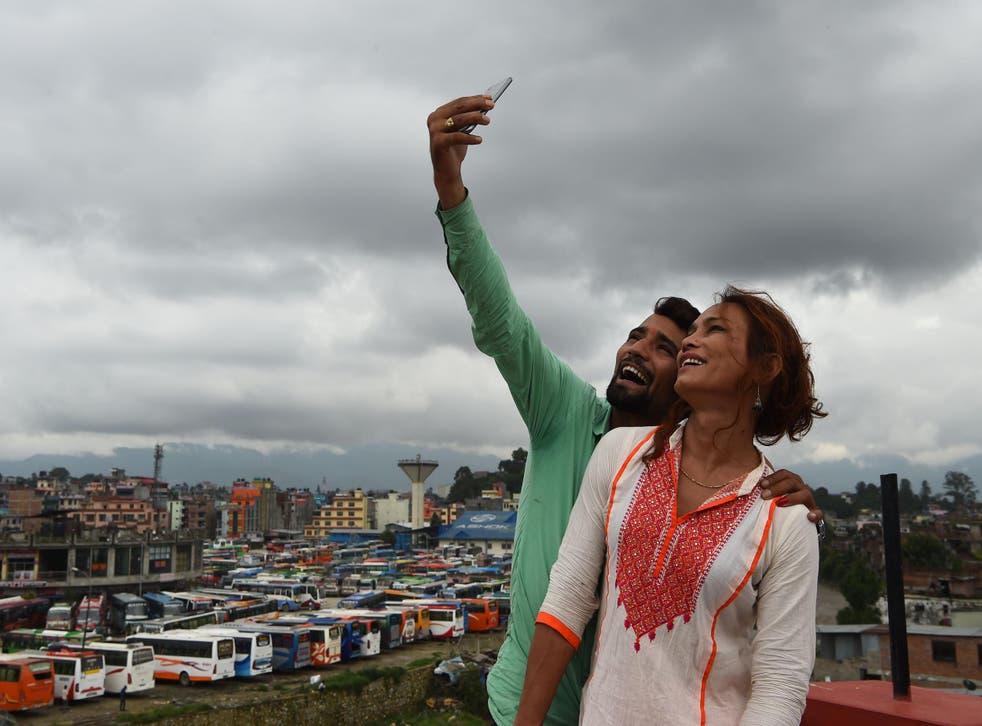 Monika Shahi Nath and her husband Ramesh Nath Yogi taking a selfie in Kathmandu