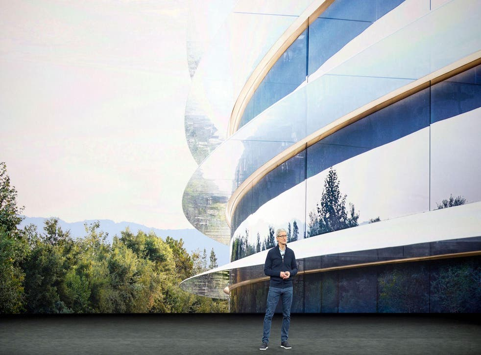 Apple CEO Tim Cook speaks about the new Apple headquarters during a media event in Cupertino, California on September 12, 2017