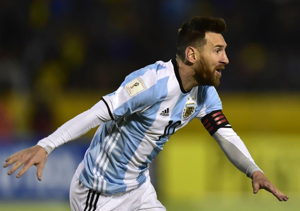 Argentina s Lionel Messi celebrates after scoring his third goal against  Ecuador 018cda5a3