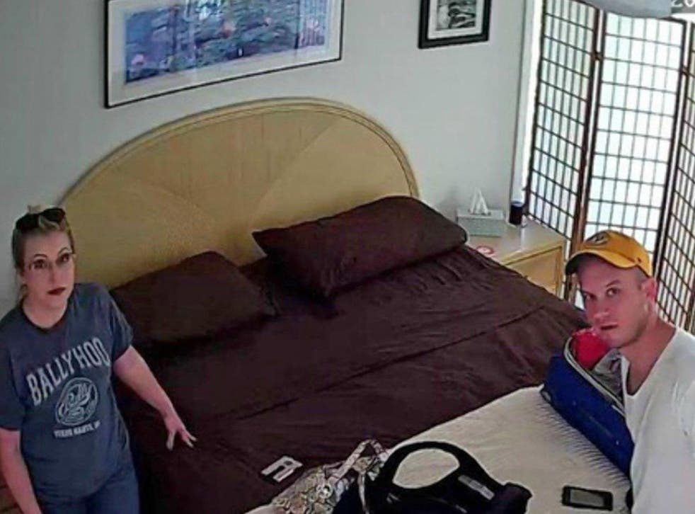 Derek Starnes and his wife were recorded in the bedroom of their Airbnb rental