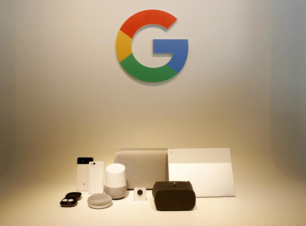 Google hardware products are displayed during a launch event in San Francisco, California, U.S. October 4, 2017