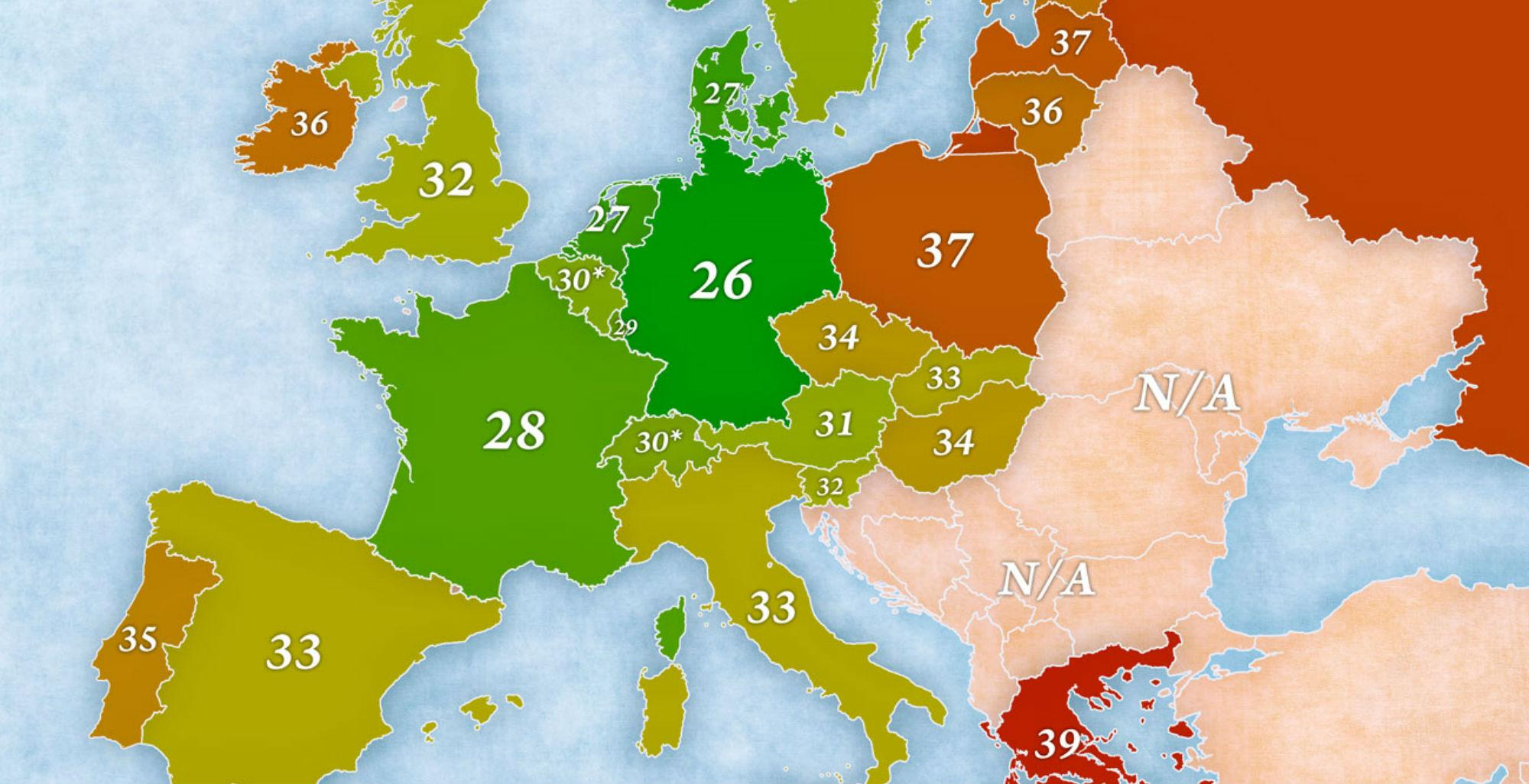 This map of Europe shows who works the longest hours | indy100