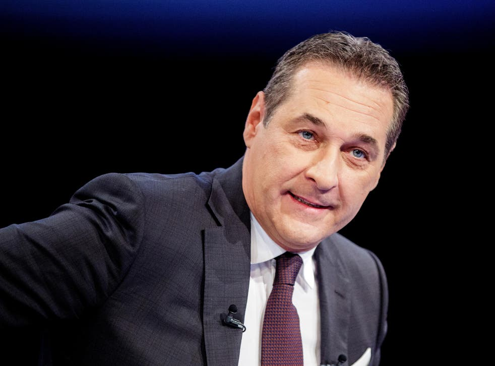 Heinz-Christian Strache, leader of the Freedom Party, speaks ahead of a TV debate in Vienna