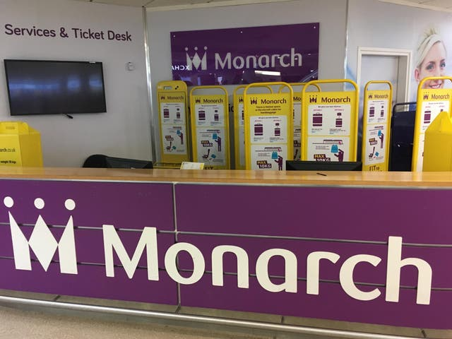 Bygone age: Monarch Airlines desk at Birmingham airport