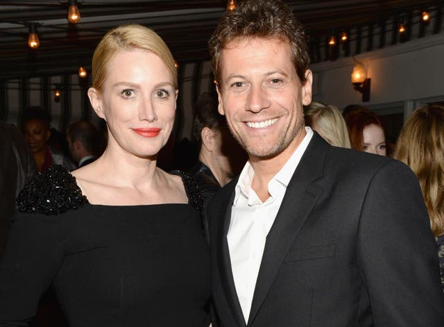 Alice Evans with her husband, actor Ioan Gruffadd. Evans says she fears her alleged refusal of Harvey Weinstein may have 'shut down' her career and her husband's