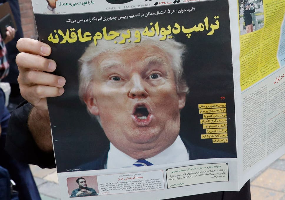 3c6e9f7ac The headline in Iranian daily newspaper 'Arman' reads 'Crazy Trump and  logical JCPOA