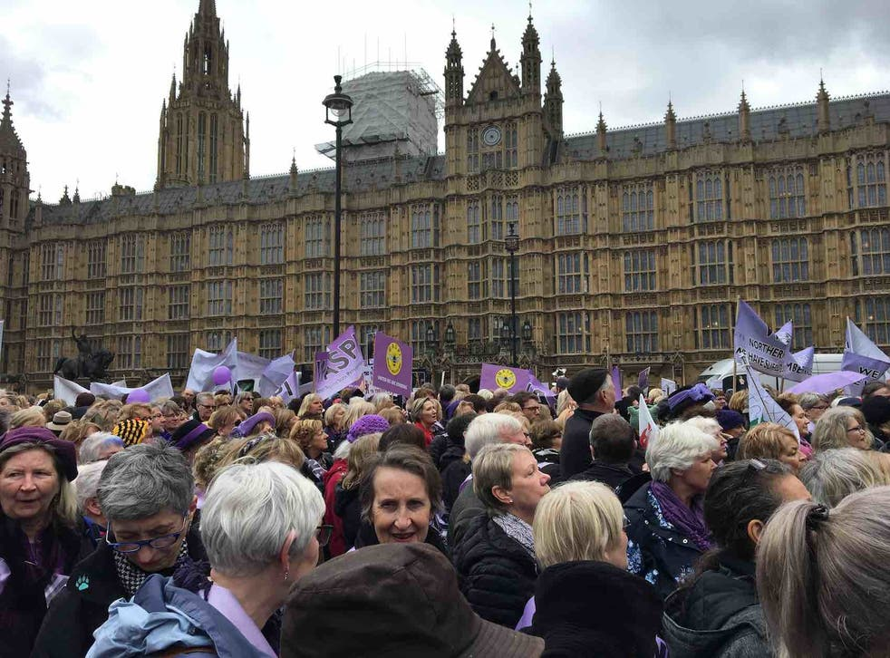 Waspi women marched on Westminster last month to protest against the government's decision to increase the female state pension age