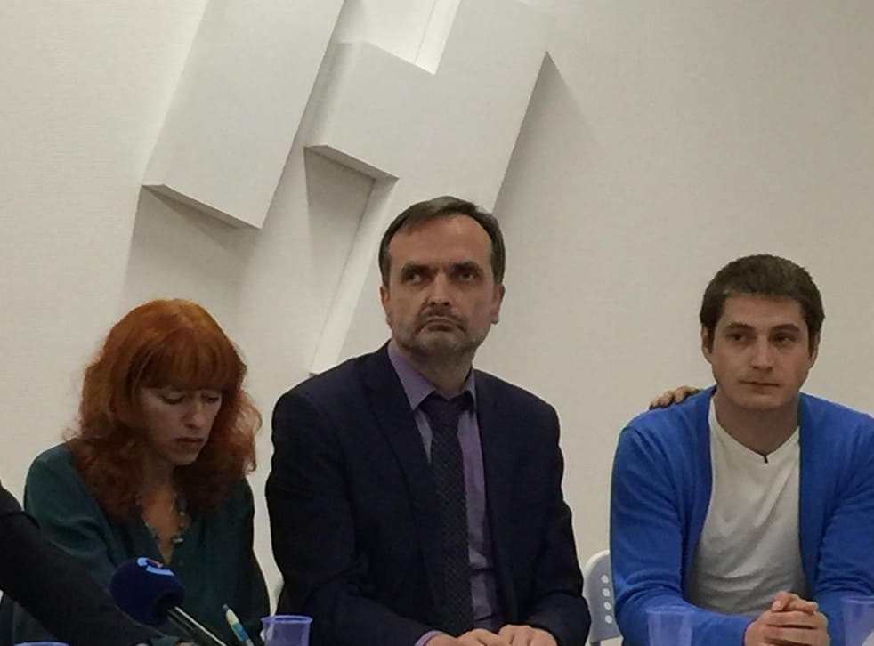 Human rights activists Tanya Lokhsina and Igor Kochetkov alongside Maxim Lapunov (far right), who on Monday became the first witness to go public about Chechnya's anti-gay purge