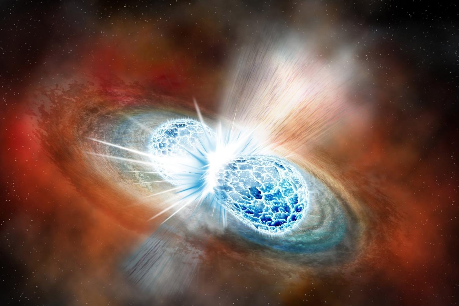 Two stars crash into each other, wobbling the universe and flinging out huge amounts of gold