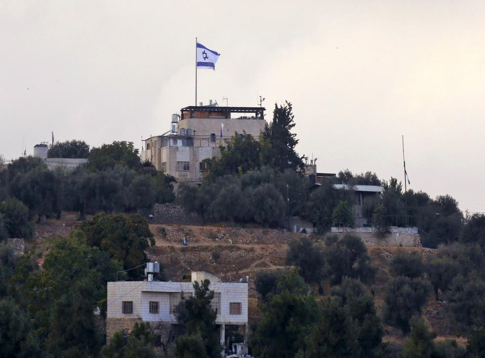 The Israeli settlement of Tal Rumeida in Hebron