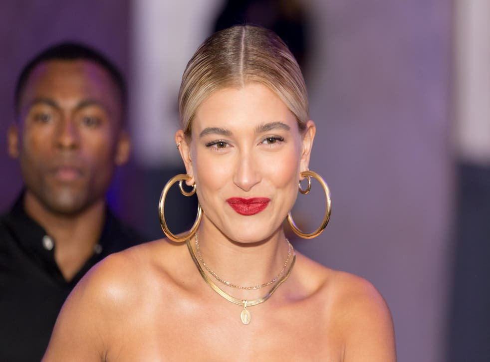 Model Hailey Baldwin in hoop earrings