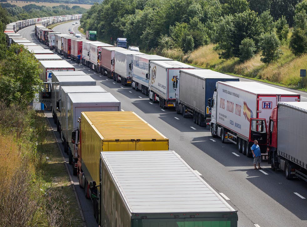 Lorries queuing at Dover: A repeat is predicted under a 'no-deal' Brexit - which a leak of the analysis says would eat up 8% of GDP