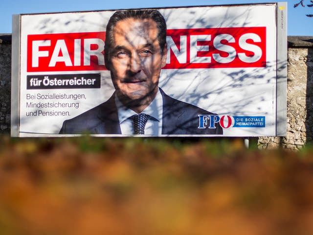 A campaign poster for Heinz-Christian Strache, whose far-right Freedom Party made gains in Sunday's election