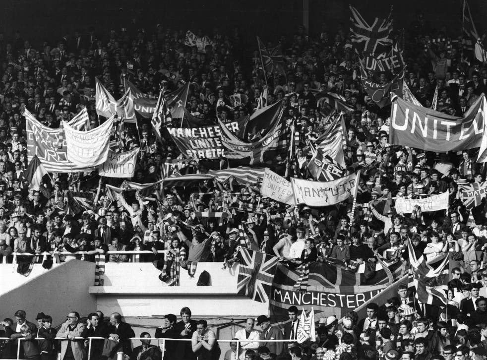 Manchester United's fans at Wembley during the side's European Cup Final match against Benfica, which United won 4-1 after extra time