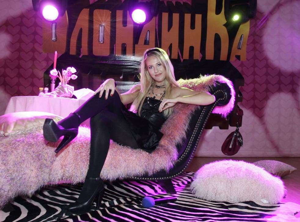 TV host and socialite Ksenia Sobchak at the Russian premiere of William Heins' comedy film Pledge This!, for which Sobchak provided the Russian voiceover for Paris Hilton