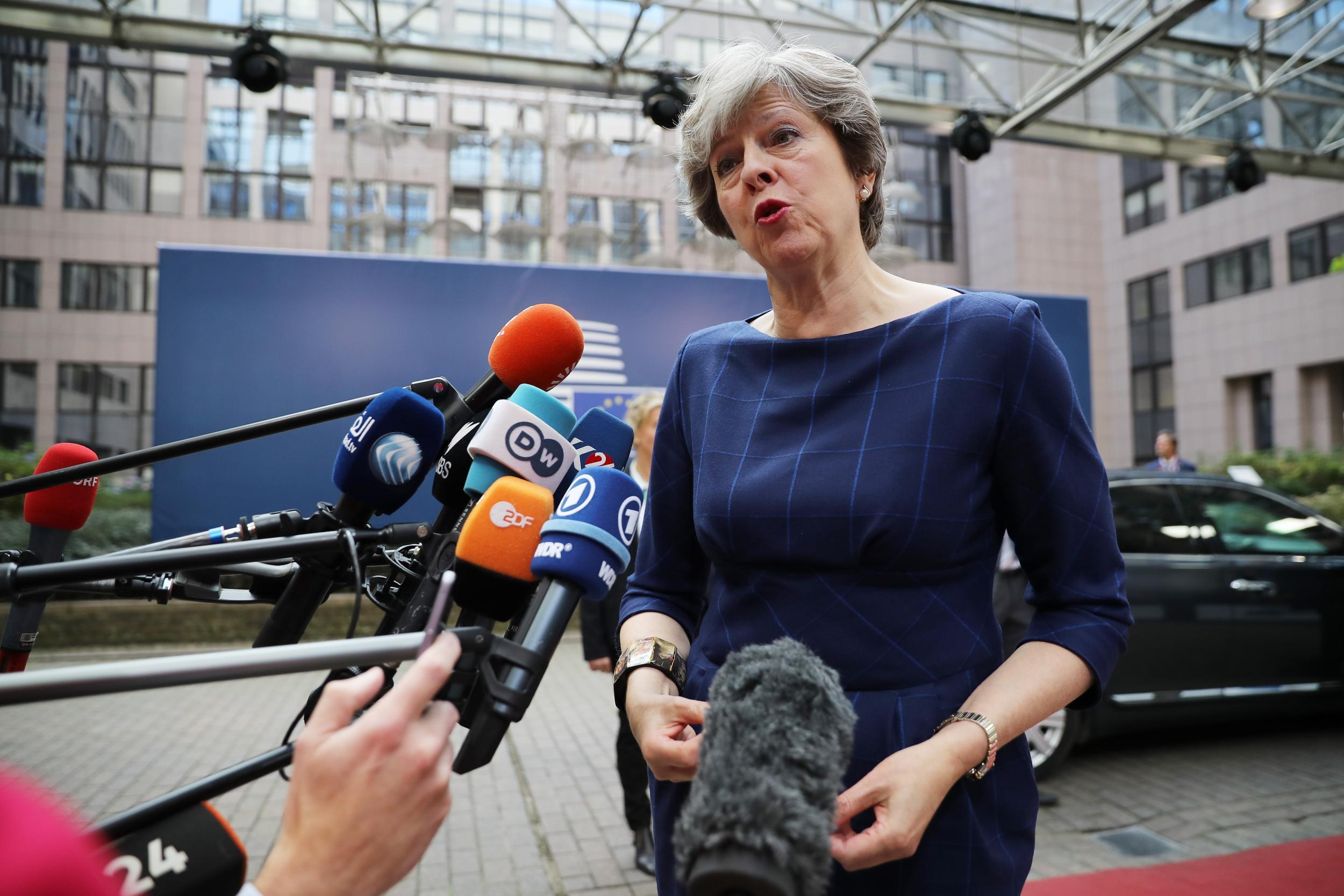 Theresa May plays down hopes of Brexit breakthrough as she arrives at EU Council summit