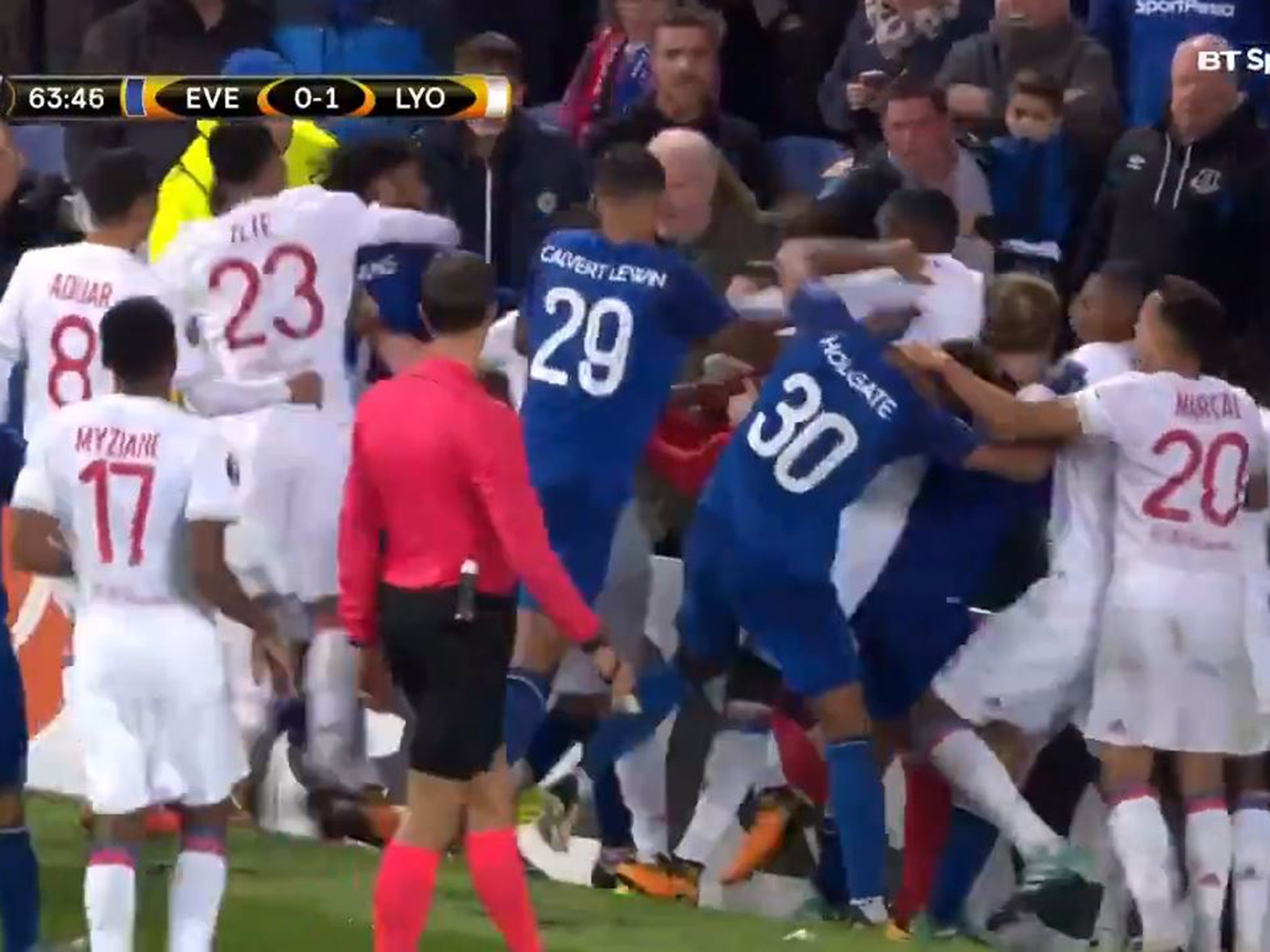 The man seen 'trying to fight Lyon players' during Everton match has been identified
