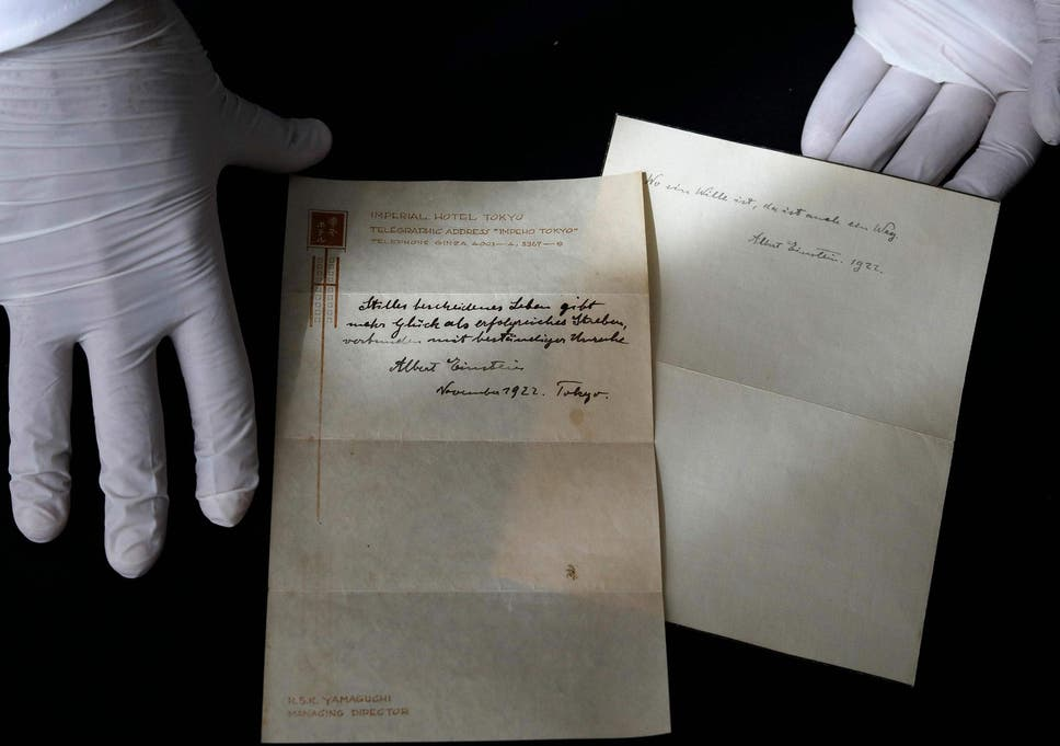 Albert Einsteins Theory Of Happiness Sold For 15m The Independent